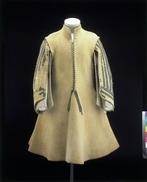 1640-1650, England - Coat - Leather, with whalebone stiffening in the collar and silver-gilt braids