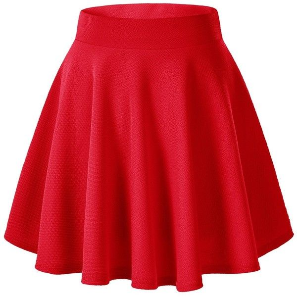 Women's Basic Solid Versatile Stretchy Flared Casual Mini Skater Skirt (£7.61) ❤ liked on Polyvore featuring skirts, mini skirts, bottoms, red, red skater skirt, red skirt, red circle skirt, flare skirts and flared skater skirt