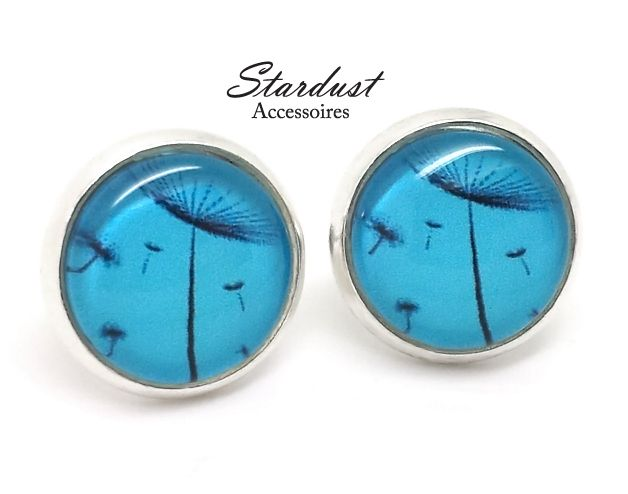 Ohrstecker silber ✿ Pusteblume blau ✿ von Stardust Accessoires auf DaWanda.com