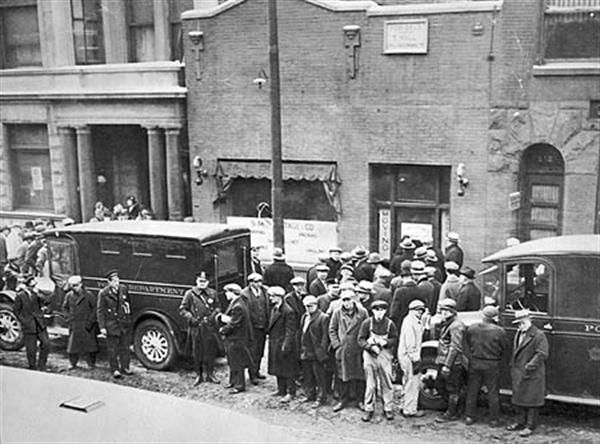 On February 14, 1929, the St. Valentine's Day Massacre takes place in a Chicago garage where seven rivals of Al Capone's gang are gunned down. (Happy Valentine's Day?)