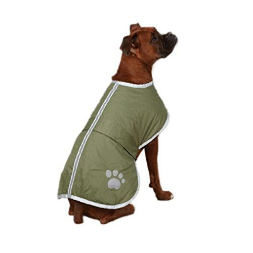 Dog Raincoats - OHF Waterproof Dog Coat Quilted Reflective Cloak Soft Cozy Outdoor Raincoat Blanket Coat4 Colors 5 Sizes Green L ** You can get more details by clicking on the image. (This is an Amazon affiliate link)