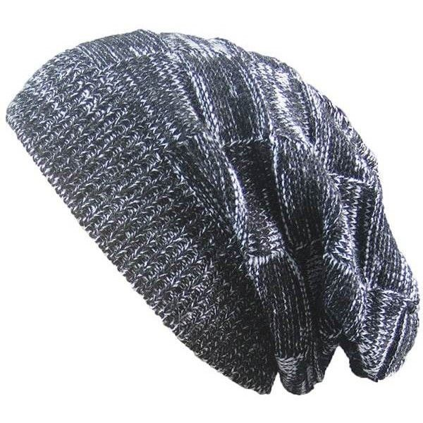 Warm Striped Rib Knitting Beanie (4.67 CAD) ❤ liked on Polyvore featuring men's fashion, men's accessories, men's hats and mens beanie hats