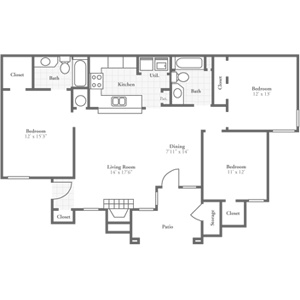 Three Bedroom Regency 1400 sqft