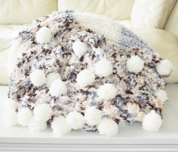 White grey neutral luxury knit blanket throw