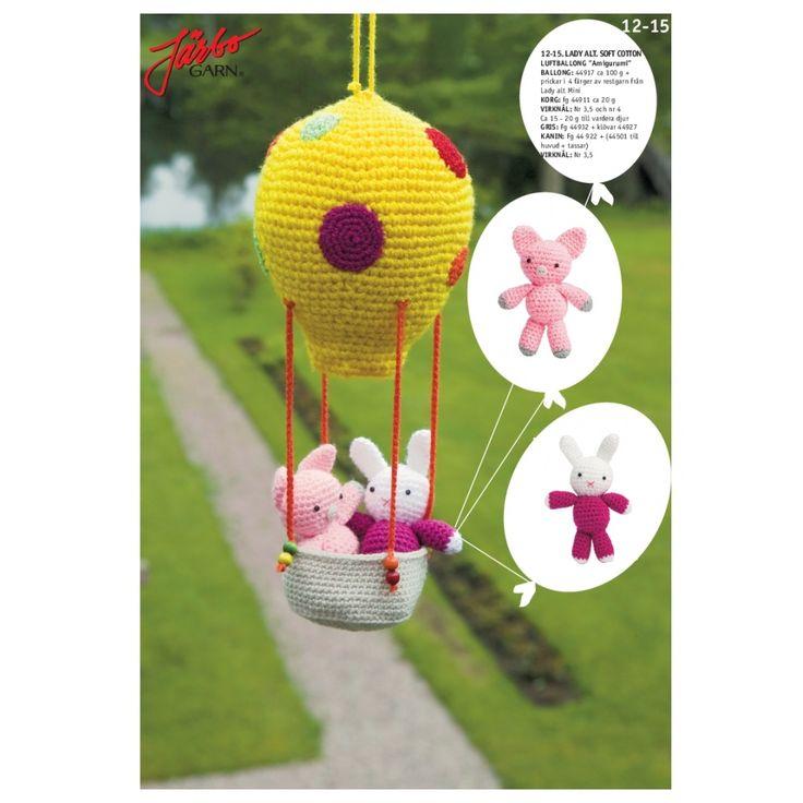 """Köp - Gratis!! Virkmönster - """"Amigurumi"""" kanin & nasse i luftballong - Järbo Garn 41988. Stickmönster från Järbo Garn. Garnkvalité: Lady eller Soft CottonGarnalternativ: Fuga,"""