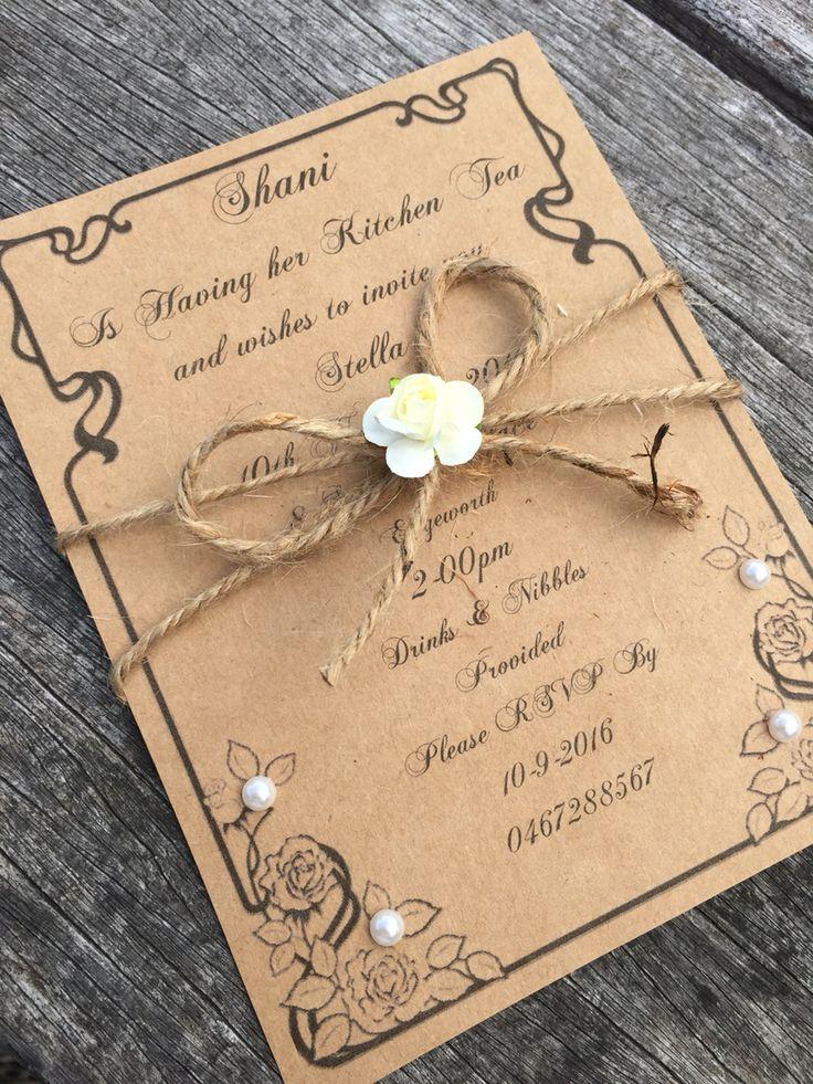 Rustic kitchen tea invitations