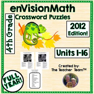 enVision Math 4th Grade Common Core 2012 Crossword Puzzles Topics 1-16 : This package contains fourth grade crossword puzzles to teach, re-teach, practice, or assess vocabulary in the fourth grade enVisions Math 2012, topics 1 – 16, all topics for the entire year. Also included is the corresponding answer key for each puzzle and a corresponding word list that can be copied to the back of each puzzle if desired. $