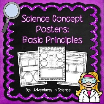 Science Concept Posters: Basic Principles are a great way for students to demonstrate their understanding of a particular science concept or standard. They can be used as classwork, homework, sub plans, or in lieu of a more formal assessment. They also look fantastic posted on a bulletin board!  The Concept Posters in this set were designed to reflect the basic principles of any middle school science class- what it means to think and act like a scientist. $
