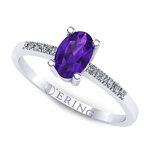 Inel logodna L101AAM inel cu ametist si diamante