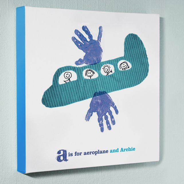 Personalised wall art canvas picture – aeroplane handprints £45.00