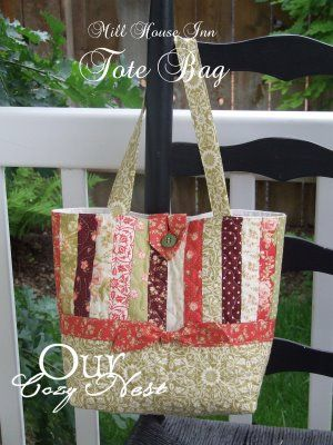 Mill House Inn Tote BagTutorial on the Moda Bake Shop. http://www.modabakeshop.com