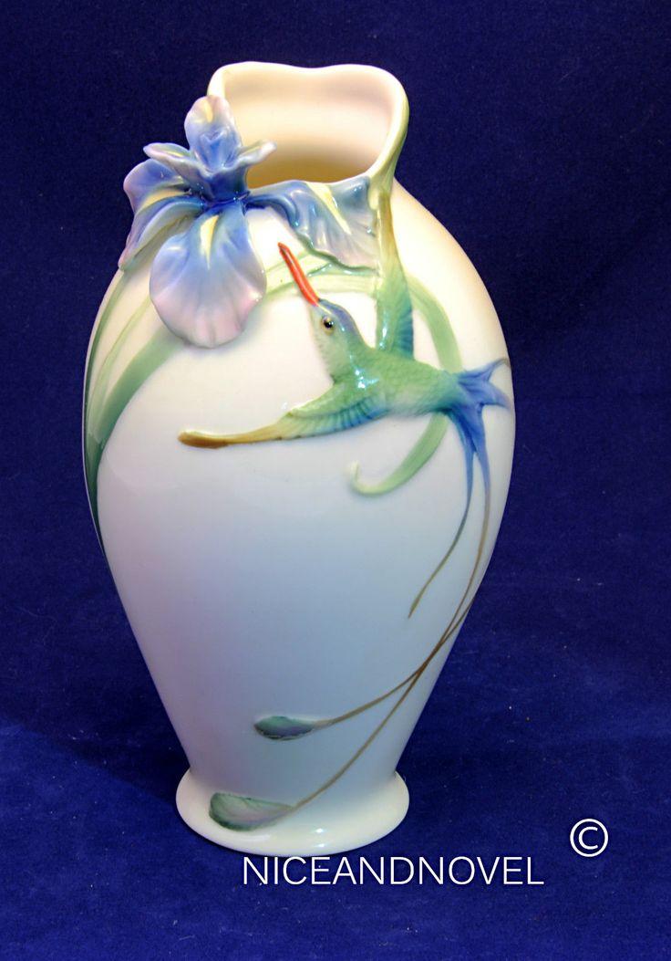Details About Franz Porcelain Collection Long Tail Hummingbird Amp Iris Flower Short Vase Fz00246