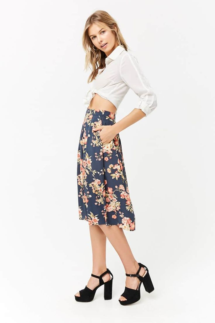 Product Name:Floral Print Pleated Midi Skirt, Category:21_Items, Price:15.9