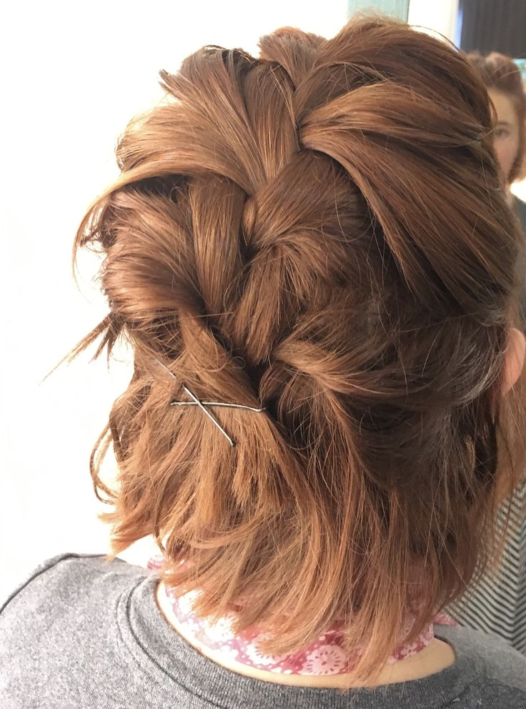 Short Red Hair In A Messy French Braid Shorthair