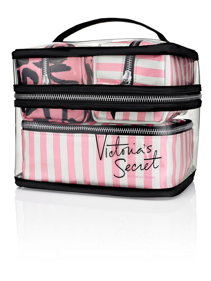 """11/19/15:Four-piece Travel Case $60 Clear Bag: 8 1/4""""L x 6 1/4""""W x 6 3/4""""H Small VS Stripe Bag: 5 1/2""""L x 3 3/4""""W x 3 1/4""""H Small Signature Script Bag: 5 1/2""""L x 3 3/4""""W x 3 1/4""""H Medium VS Stripe Bag: 7 1/2""""L x 5 3/4""""W x 3""""H Four separate cosmetic bags with zip closures Imported PVC/satin"""