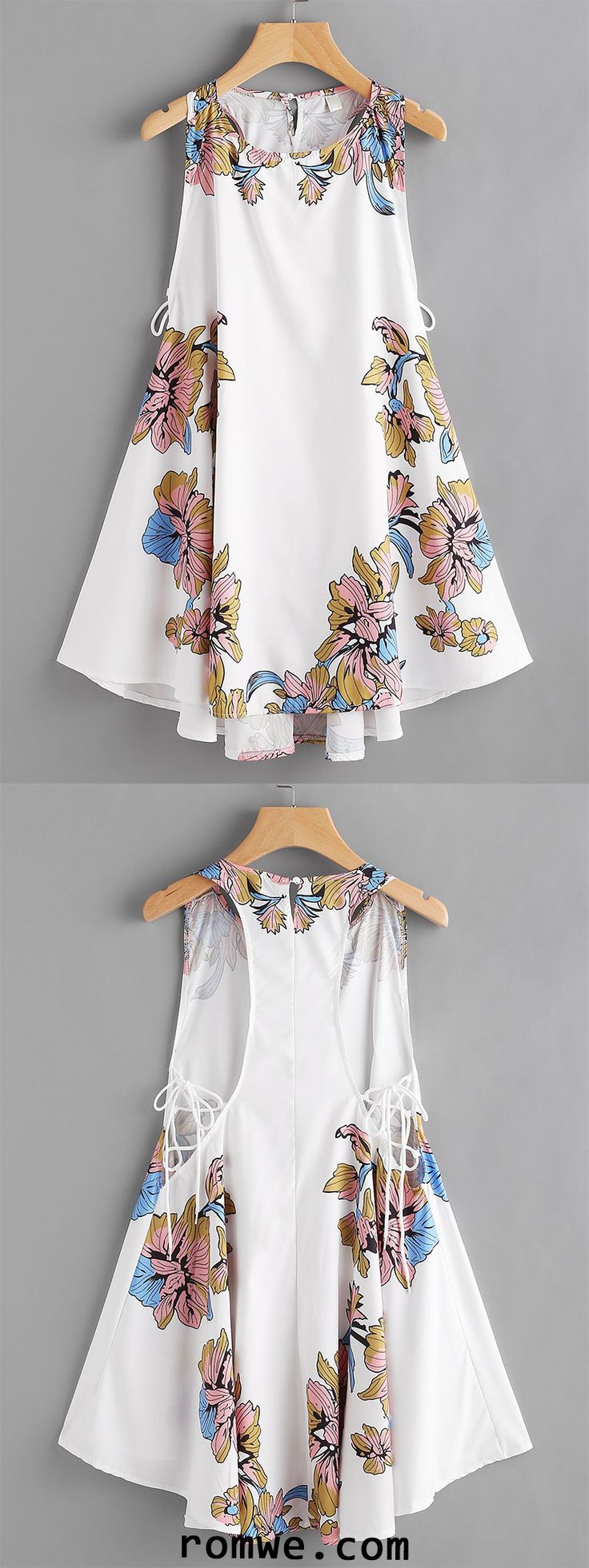 Floral Print Lace Up Side Dress