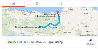Peta Rute Kabupaten Banjarnegara ke Bandar Udara Achmad Yani | Mbah Online