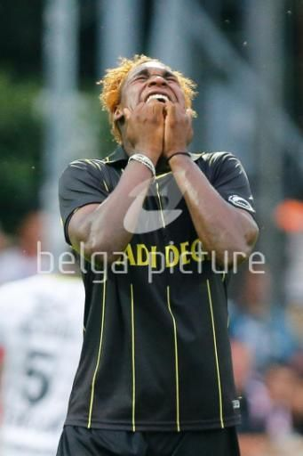 27/07/2013: Lierse's Dolly Menga during the Jupiler Pro League match between Lierse and Zulte Waregem, in Lier, on the first day of the Belgian soccer championship. Lierse lost with 1-2. (Bruno Fahy)