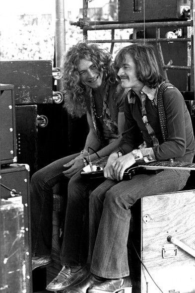 Led Zeppelin's Robert Plant and John-Paul Jones (during a lengthy Bonham drum solo) on June 2, 1973 at Kezar Stadium in San Francisco.