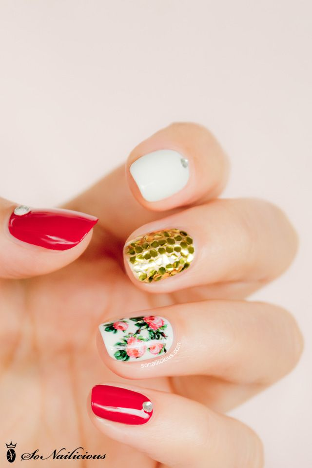 Pretty floral nails - mix'n'match #nailart.  click through for manicure details!