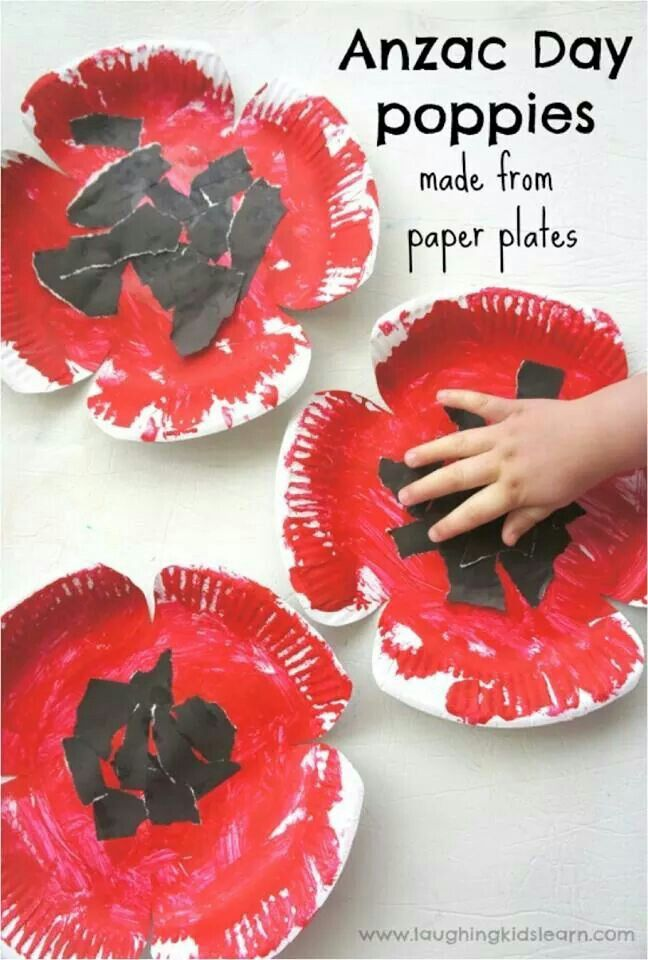 Anzac poppies made from paper plates