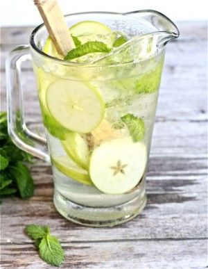 White sangria with apple and mint. Rum an simple syrup in place of triple sec depending on availability and preference