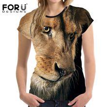 Forudesigns fresco 3d animal del león de la mujer corta camiseta culturismo casual mujer t-shirt o cuello delgado camisetas básicas de verano femenino(China (Mainland))