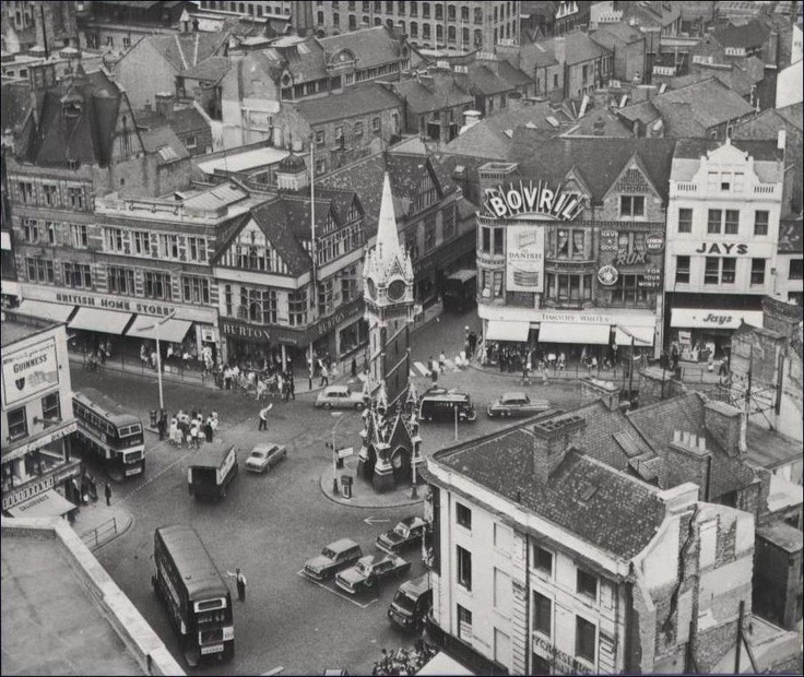 Clock Tower from above with all the old buildings ... my Grandad used to stand here. An Inspector on the buses for Leicester City Transport