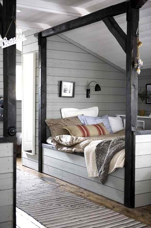 Super cute bed idea for an attic room.