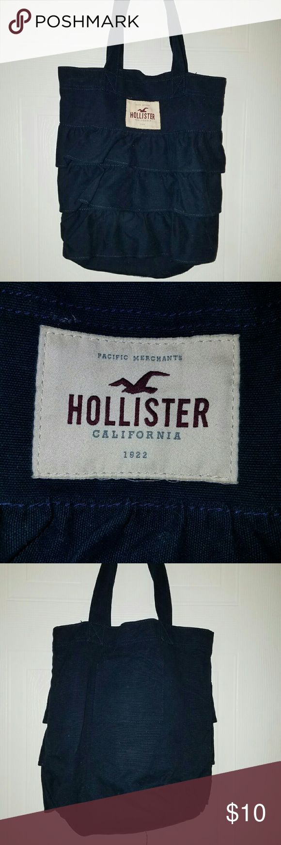 Hollister Tote Navy blue, sturdy denim like material total bag with ruffles in front. Hollister Bags Totes