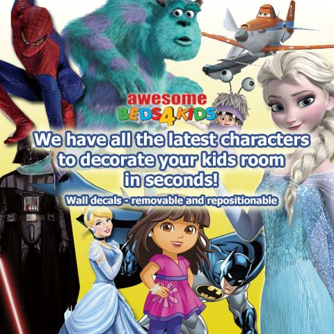 Huge range of kids wall decals, that can easily be removed and re positioned.