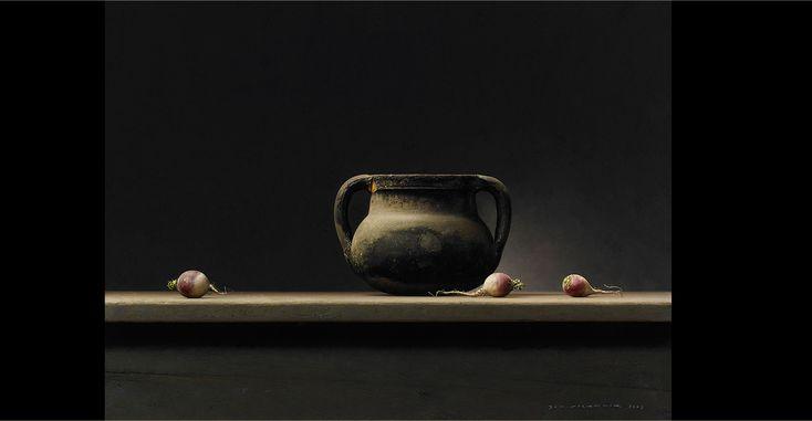 Bernard Verkaaik, Dark pot with navette, oil on panel, 60 X 80 cm.