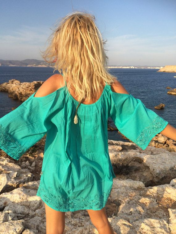 Sexy fresh turquoise open shoulder summer tunic with by AUROBELLE