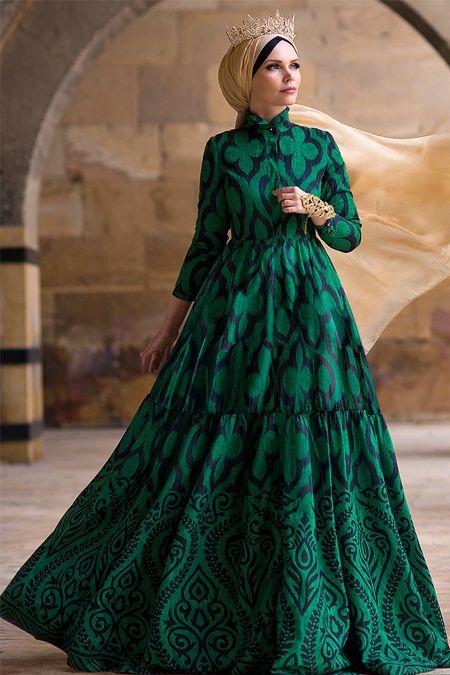 Muslima Wear Zümrüt Yeşili Green Diamond Abiye Elbise  79795059895e