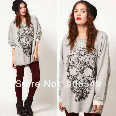 Aliexpress.com : Buy 2013 New European Style Women Gray Full Sleeve Skull Pattern Printed  Casual Loose Pullover Plus Size Hoodie Sweatshirt from Reliable sweatshirt suppliers on Fashion club  $19.98