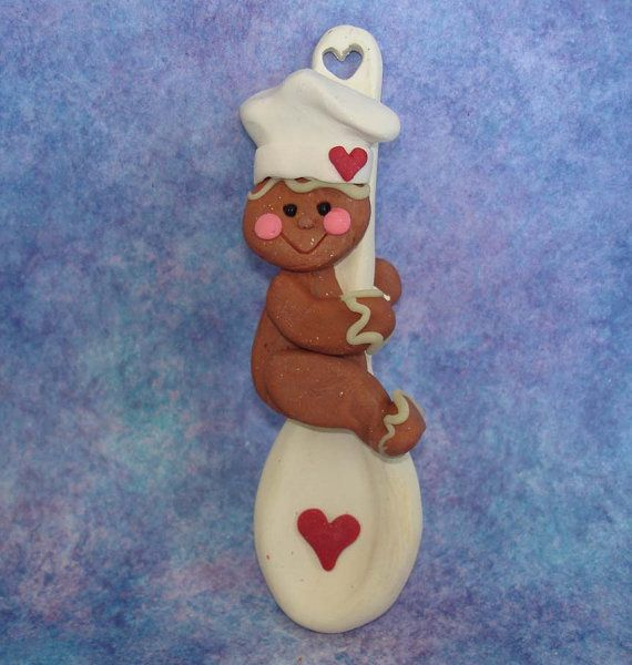 Polymer Clay Milestone Christmas Ornament  Cake Topper Gingerbread on Spoon Chef Hat Ginger Cookies