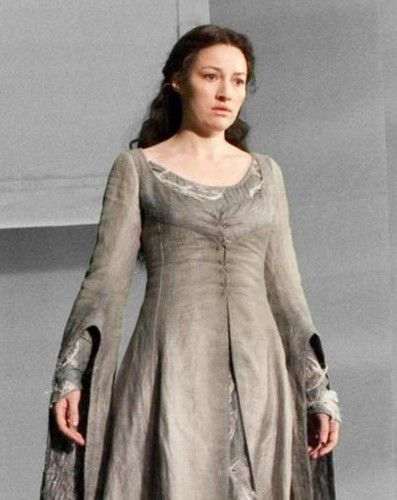 Helena Ravenclaw, nicknamed 'The Grey Lady', is portrayed here by Kelly Macdonald in Harry Potter and the Deathly Hallows: Part 2. She replaced Nina Young who portrayed her in Harry Potter and the Philosopher's Stone and Harry Potter and the Chamber of Secrets.