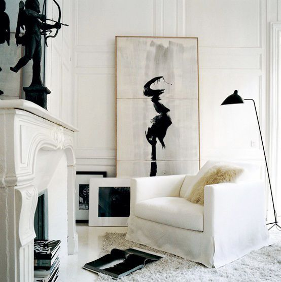 Art In Homes. #BlackandWhite #Painting #LivingRoom #Style