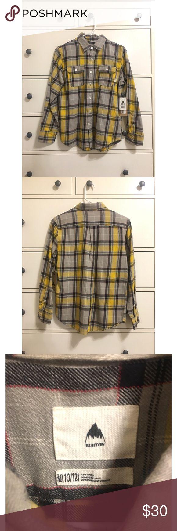 New Burton Boys Shirt Medium New with tags Burton Boys Brighton long sleeve shirt- Gold & Gray Size: Medium (10/12)  100% cotton Original price $49 Burton Shirts & Tops Button Down Shirts