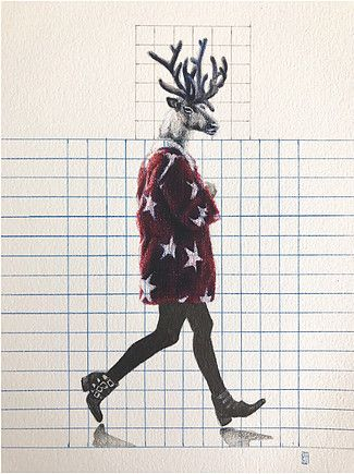 Dominique Schwarzhaupt | Colored Pencil and graphite pencil on paper. Dibujo. Streetstyle