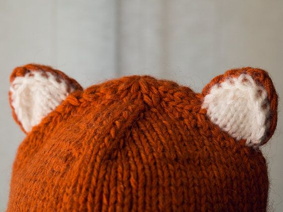 Hand Knit Fox Chunky Hat Animal Beanie Cap fox. Ear by NatalieKnit