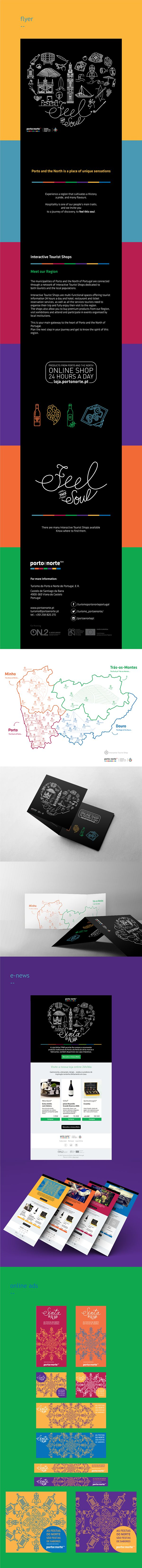 The municipalities of Porto and the North of Portugal are connected through a network of Interactive Tourist Shops dedicated to both tourists and the local populations.  This project consisted on designing a flyer with all the interactive shops information and caracteristhics in a north's Portugal map. I also designed the e-news and the online ads that were necessary to a web campaign.