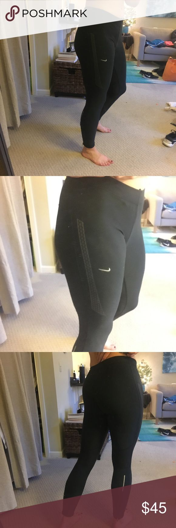 Nike Running Tights Breathable and stretchy Nike running tights.  • Hidden zipper pocket  • Reflective • Zip ankles  • Inner toe waistband • Brand new condition Nike Pants Track Pants & Joggers