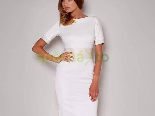 Dámské šaty s lesklým pasem Figl, bílé , foto 1 Dámské oděvy, Sukně, šaty | spěcháto.cz - bazar, inzerce zdarma