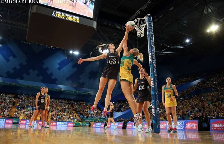 30.10.2015 Action during the Silver Ferns v Australian Diamonds netball test match played at Perth Arena.