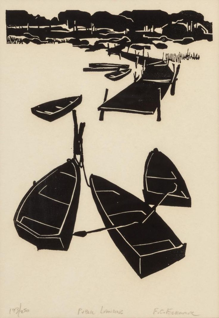 FRANK ECKMAIR (American, 1930-2012) Public Landing, woodcut