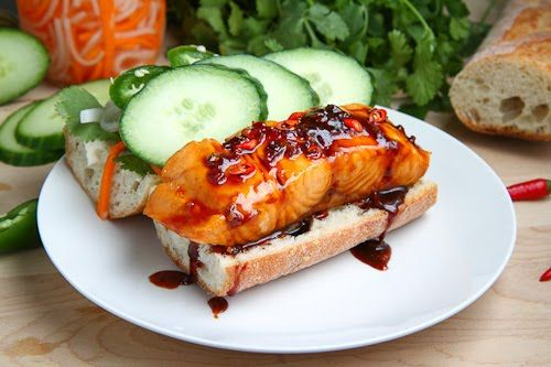 Vietnamese Caramel Salmon Banh MiAsian Recipe, Caramel Salmon, Vietnamese Caramel, Salmon Banh, Asian Dishes, Banh Mi, Yummy Food, Seafood Dishes, Vietnam Caramel