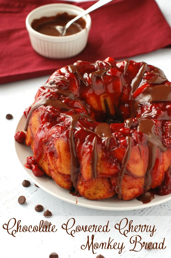 Chocolate Covered Cherry Monkey Bread | www.wineandglue.com | Monkey bread smothered with delicious cherry flavor and covered in chocolate s...