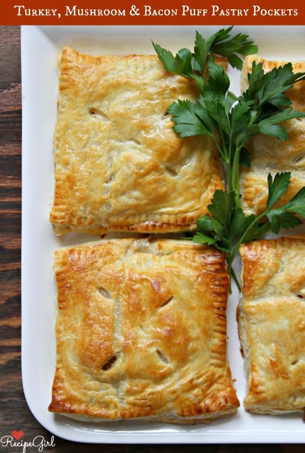 Turkey, Mushroom and Bacon Puff Pastry Pockets