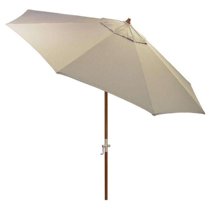 9' Round Sunbrella Umbrella - Canvas Taupe (Brown) - Medium Wood Finish - Smith & Hawken